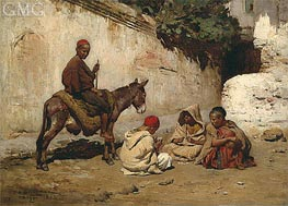 Arab Children Palying Cards, 1873 by Frederick Arthur Bridgman | Painting Reproduction