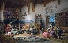 The Nubian Story Teller in the Harem, 1875 by Frederick Arthur Bridgman | Painting Reproduction