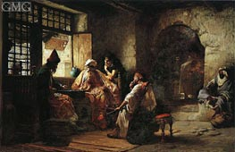 An Interesting Game, 1881 by Frederick Arthur Bridgman | Painting Reproduction