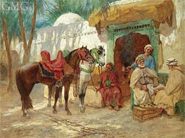 The Chess Players, 1924 by Frederick Arthur Bridgman | Painting Reproduction