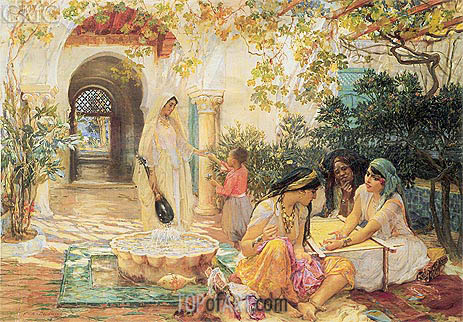 In the Courtyard, El Biar, undated | Frederick Arthur Bridgman | Gemälde Reproduktion