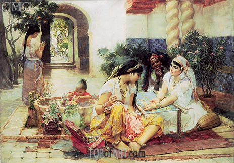 In the Courtyard, El Biar, 1889 | Frederick Arthur Bridgman | Painting Reproduction