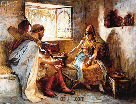 The Game of Chance, 1885 | Frederick Arthur Bridgman | Painting Reproduction