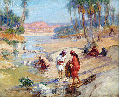 Women Washing Clothes in a Stream, 1921 | Frederick Arthur Bridgman | Painting Reproduction