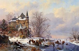Winter Landscape with Skaters in front of a Castle | Kruseman | Painting Reproduction