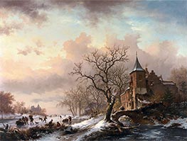 Castle in a Winter Landscape and Skaters on a Frozen River, 1855 by Kruseman | Painting Reproduction