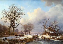 Dutch Winter Landscape with Skaters, 1864 by Kruseman | Painting Reproduction