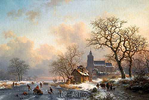 A Winter Landscape with Skaters on a Frozen River, 1867   Kruseman   Painting Reproduction