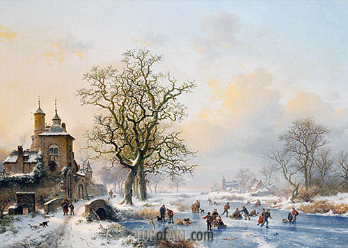 Winter Landscape with Skaters near a Castle, undated | Kruseman | Painting Reproduction