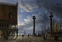 Piazza San Marco by Moonlight, 1847 von Friedrich Nerly | Gemälde-Reproduktion