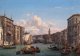 A View of the Grand Canal Looking towards the Rialto Bridge, Venice, undated by Friedrich Nerly | Painting Reproduction