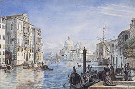 Venice: Canal Grande, Palazzo Cavallo Franchetti, Santa Maria della Salute and Dogana del Mar, c.1838/39 by Friedrich Nerly | Painting Reproduction