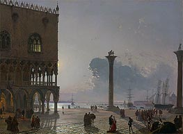 A Moonlit View of the Piazza San Marco towards San Giorgio Maggiore, 1849 by Friedrich Nerly | Painting Reproduction