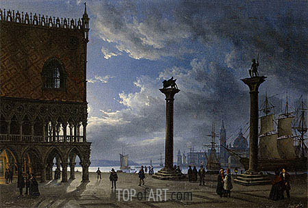 Piazza San Marco by Moonlight, 1847 | Friedrich Nerly | Painting Reproduction