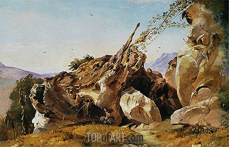 Study of Rocks and Roots at Olevano, undated | Friedrich Nerly | Painting Reproduction