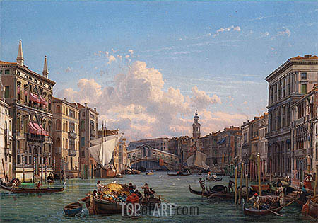A View of the Grand Canal Looking towards the Rialto Bridge, Venice, undated | Friedrich Nerly | Painting Reproduction