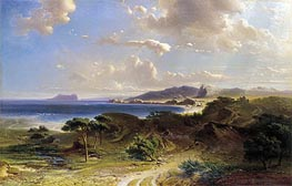 The Beach at Estepona with a View of the Rock of Gibraltar, 1855 von Fritz Bamberger | Gemälde-Reproduktion