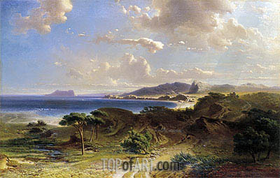 The Beach at Estepona with a View of the Rock of Gibraltar, 1855 | Fritz Bamberger | Gemälde Reproduktion