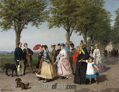 The Ladies' Promenade, Undated | Fritz Paulsen | Painting Reproduction