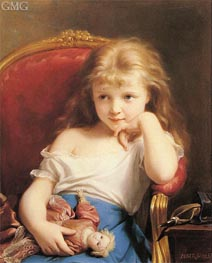 Young Girl Holding a Doll, undated by Zuber-Buhler | Painting Reproduction