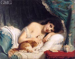A Reclining Beauty with Her Cat | Zuber-Buhler | Painting Reproduction