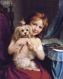 A Young Girl with a Bichon Frise | Zuber-Buhler | Painting Reproduction
