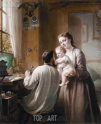 The Watchmaker and His Family, undated | Zuber-Buhler | Painting Reproduction