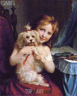 A Young Girl with a Bichon Frise, undated | Zuber-Buhler | Painting Reproduction