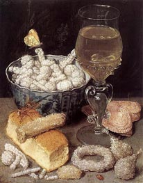 Still Life with Bread and Confectionery | Georg Flegel | Painting Reproduction