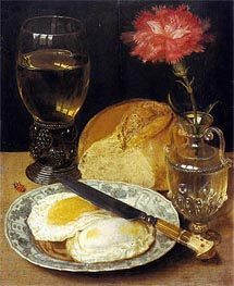 Snack with Fried Eggs | Georg Flegel | Painting Reproduction