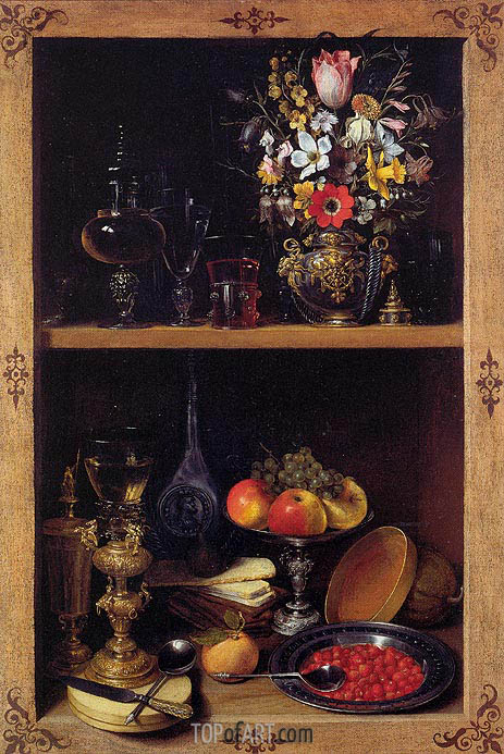 Cupboard Picture with Flowers, Fruit and Goblets, c.1610 | Georg Flegel | Painting Reproduction