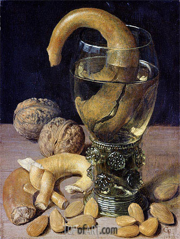 Still life with Pretzels, Nuts and Almonds, 1637 | Georg Flegel | Painting Reproduction