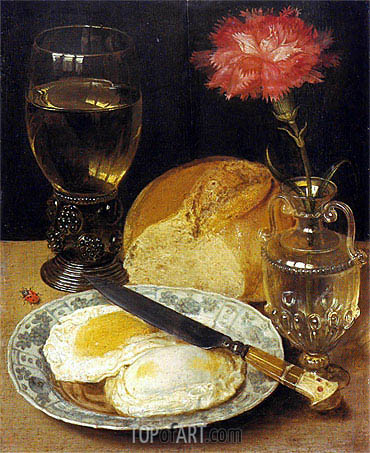 Snack with Fried Eggs, undated | Georg Flegel | Painting Reproduction