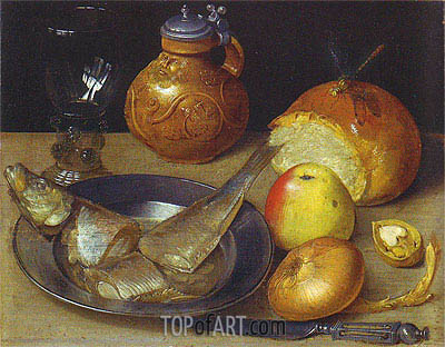 Still Life with Herring and Bearded Man Jug, undated | Georg Flegel | Painting Reproduction