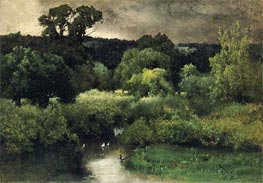 A Gray Lowery Day, 1877 von George Inness | Gemälde-Reproduktion