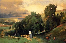 Hillside at Etretat, 1876 by George Inness | Painting Reproduction