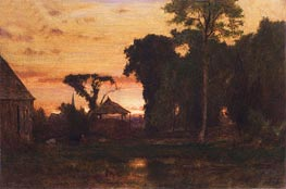 Evening at Medfield, Massachusetts, 1869 by George Inness | Painting Reproduction