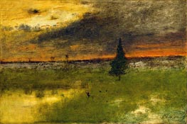 The Lonely Pine - Sunset, 1893 von George Inness | Gemälde-Reproduktion