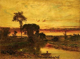 Sunset Landscape, Medfield | George Inness | Painting Reproduction