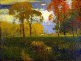 Sunny Autumn Day, 1892 by George Inness | Painting Reproduction