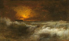 Sunset over the Sea, 1887 by George Inness | Painting Reproduction