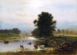 A View near Medfield, 1861 by George Inness | Painting Reproduction