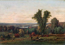 Landscape near Medfield, Massachusetts, 1868 by George Inness | Painting Reproduction