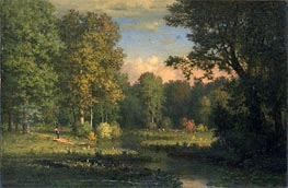 Landscape with a Stream, 1885 by George Inness | Painting Reproduction
