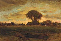 Sunset on a Meadow, 1878 von George Inness | Gemälde-Reproduktion