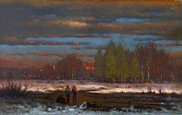 Winter Evening, Medfield, undated by George Inness | Painting Reproduction