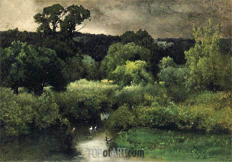 A Gray Lowery Day, 1877 | George Inness | Painting Reproduction