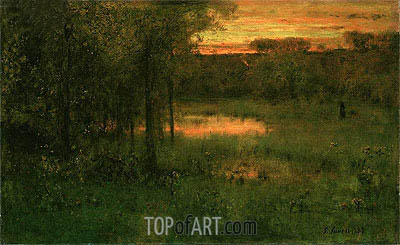 Landscape, Sunset, 1889 | George Inness | Painting Reproduction