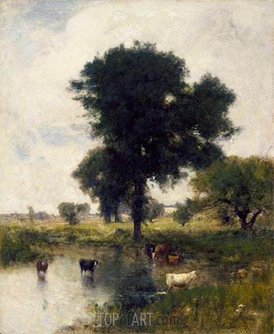 Cattle in Pool (A Summer Landscape), 1880 | George Inness | Painting Reproduction