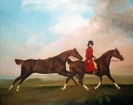 William Anderson with Two Saddled Horses, 1793 by George Stubbs | Painting Reproduction